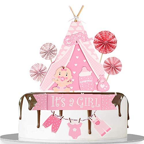 ENSTAB Babyparty Tortendeko Mädchen It's A Girl Tortendeko Set für Taufe Deko Mädchen Baby Geburtstag Kuchendekoration
