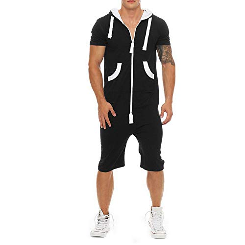 Shujin Herren Sommer Onesie Jumpsuit Kurzarm Hoodie Einfarbig Overall Zipper Strampler Kurz Jogging Anzug Freizeit Mode Strand Streetwear