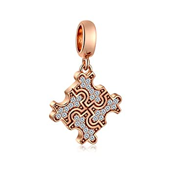 Sambaah Rose Gold Autism Awareness Charm Sterling Silver Puzzle Piece Charm fit Pandora Style Bracelets