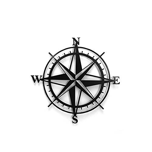 DECOLICIOUS - Juego de decoración de pared de metal geométrico moderno y único, decoración 3D 48 cm x 50 cm (Compass)