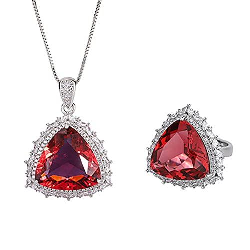 CHENLING Plata de ley 925 17 x 17 mm Rubí Piedra Colgante Collar Anillos de Mujer Diamante de Alto Carbono Joyería de Boda Conjuntos de Regalo
