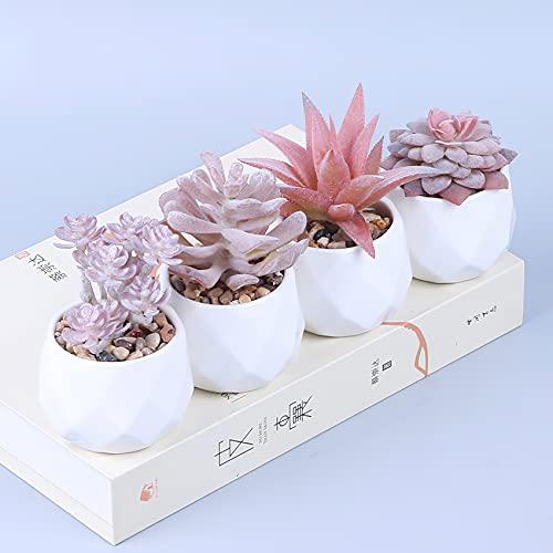GaoTuo 4 Pz Piante Artificiali Succulente Piante Finte Grasse con Vasi Decorazione da Interno e Esterno Casa Davanzale Cucina Scrivania