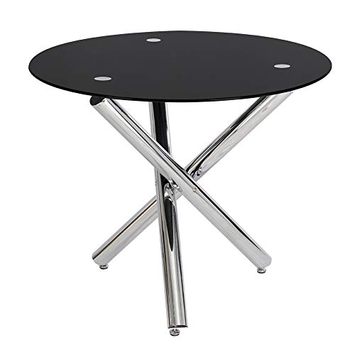 INMOZATA Modern Dining table, Round Glass Dining Table Tempered Glass with Chrome Legs by Warmiehomy (Black Top)