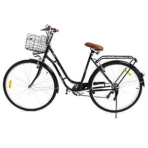 Paneltech 28 Pulgadas 7 Velocidad de Ciudad Bicicleta de Ciudad para Mujer Hombre Paseo Citybike Compras Commute para Bicicleta con luz Delantera y luz Trasera y Cesta (Negro)
