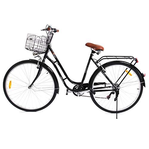Paneltech Bicicletta donna uomo citta Bicicletta Bici Citybike 7 velocità con luce anteriore e luce posteriore e cestello (Nero)