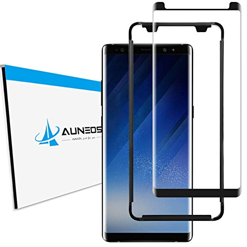 [3D Full Adhesive] Screen Protector for Galaxy Note 8, AUNEOS Note 8 Tempered Glass Screen Protector [Case Friendly] Samsung Galaxy Note 8 Tempered Glass Bundle with Install Alignment Tool (Black)