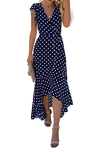 GRECERELLE Women's Summer Floral Print Cross V Neck Dress Bohemian Flowy Long Maxi Dresses PD-Navy Blue-S