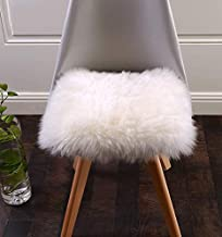 Meng Ge Square Sheepskin Seat Cushion,Luxurious Soft Fur Chair Pads Seat Cover White,20x20 Inch