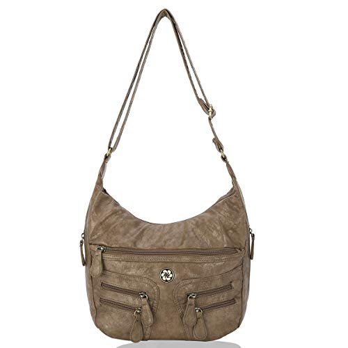 Angel Barcelo Crossover Purse and Handbags Crossbody Bags for Women,Ultra Soft Leather Neatpack Bags Shoulder Purse Khaki