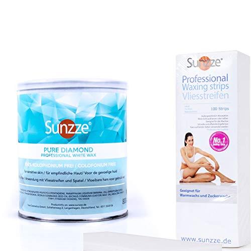 Sunzze Waxing SET Diamond | Haarentfernung mit Warmwachs Beinenthaarung | mit Vliesstreifen
