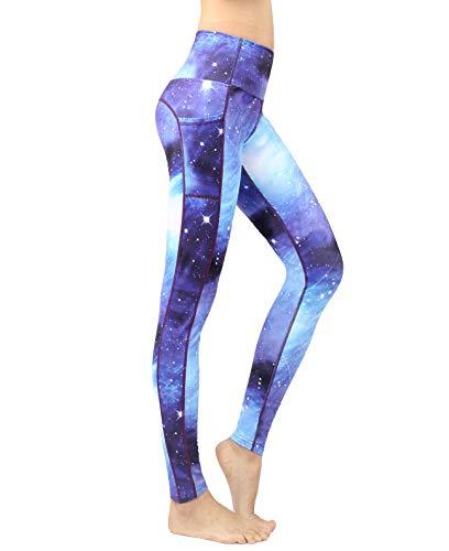 Neonysweets Women's Printed Yoga Pants High Waist Tummy Control Workout Pants Leggings with Pocket XL