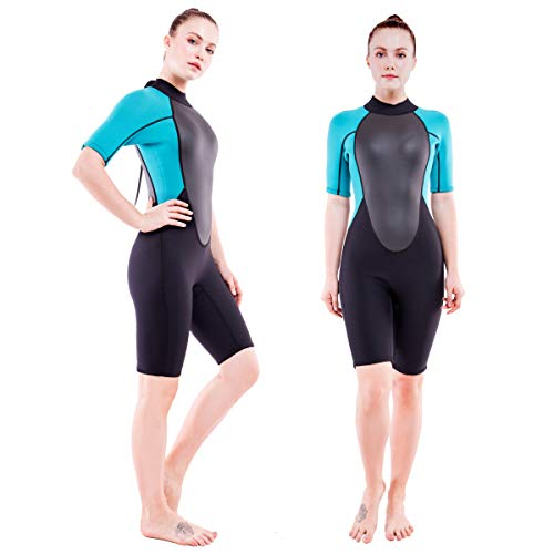 Realon 3mm Shorty Wetsuit Womens CR Neoprene Surfing Scuba Diving Snorkeling Swimming Suit (3mm Shorty Dark/Blue, Large)