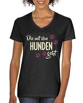 ✔ ARTIKEL: Individuelles Damen Shirt bedruckt mit Die mit den Hunden geht ✔ DESIGN: Trendy, Cool, Stylish, Originell. Die Fertigung des Shirts ist made in Germany ✔ MERKMALE: 100% Baumwolle, umweltfreundliche und schadstoffgeprüfte Produktion, hochwe...