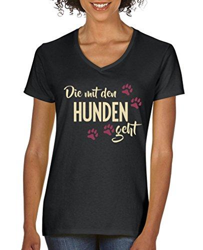 Comedy Shirts - Die mit den Hunden geht - Damen V-Neck T-Shirt - Schwarz/Beige-Fuchsia Gr. XL