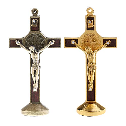 LoveinDIY 2pcs Jesus Crucifix Christ Alloy Figurine Standing for Home