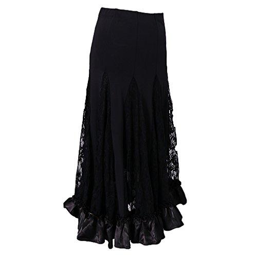 P Prettyia Vestido Encaje Cuadrado Faldas de Ropa de Baile Accesorios Cómodo Accesorios de Mujer - Negro