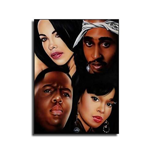 heshunxing Lisa Left Eye Aaliyah 2pac Poster Canvas Art Poster and Wall Art Family Bedroom Decor