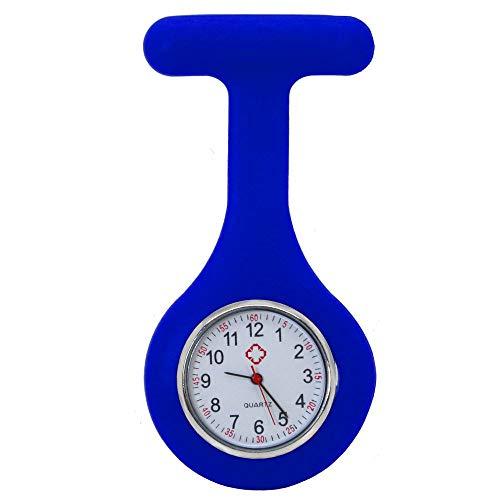 tumundo Schwestern-Uhr Puls Anstecknadel Kittel Brosche Silikon-Hülle Quarz Damen-Schmuck Krankenschwester Pfleger-Uhr, Farbe:königsblau