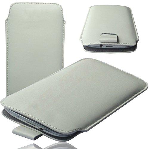 MOELECTRONIX MX WEIß Slim Cover Hülle Schutz Hülle Pull UP Etui Smartphone Tasche passend für MobiWire Ahiga