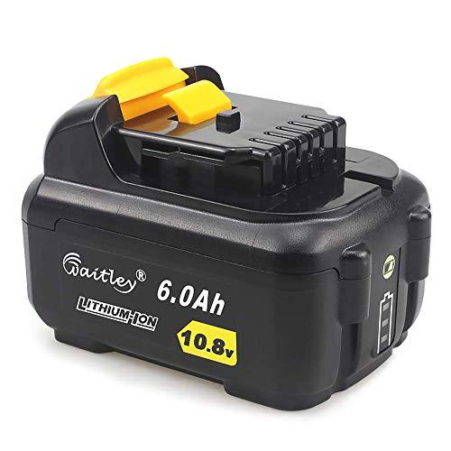 QUPER - Batteria sostitutiva agli ioni di litio da 10,8 V 6,0 Ah DCB127 compatibile con Dewalt DCR020-GB XR, DCF815D2, DCF601D2, DCF610, DCE088D1G, DCB105.