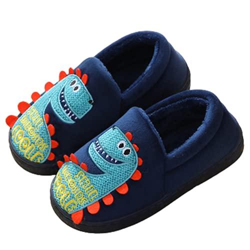 YICHUAN Zapatillas De Dinosaurio De Dibujos Animados para Niños Zapatos De Algodón Antideslizantes Cómodos Cálidos Y Bordados En Casa para Niños,Dinosaur~B-37EU