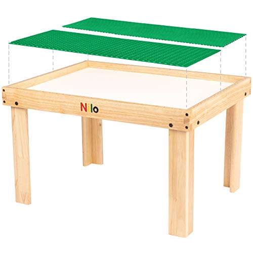Kids Play Table Set with 2 Compatible Lego Duplo Detachable Two-Sided Baseplates/Boards/Mats by NILO (N34 Activity Table w/Holes, 24x32x20 and 2X Green Base Plates 12x32)
