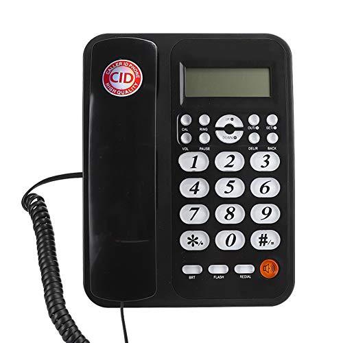 Teléfono fijo con cable, negro, teléfono con cable estándar con pantalla LCD, altavoz e identificador de llamadas, sistema DTMF y FSK para colgar en la pared y escritorio plano para la oficina en casa