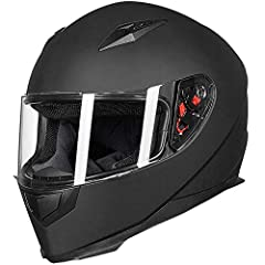 2 Visors Included: Clear + Smoked and 1 Neck Scarf for Winter Use Streamlined Aerodynamic Design Reduces Wind Noise and Drag Advanced and Lightweight Durable ABS Shell Quick Release Clasp and Strap and Removable Inner Lining Pads Meets or Exceeds FMV...