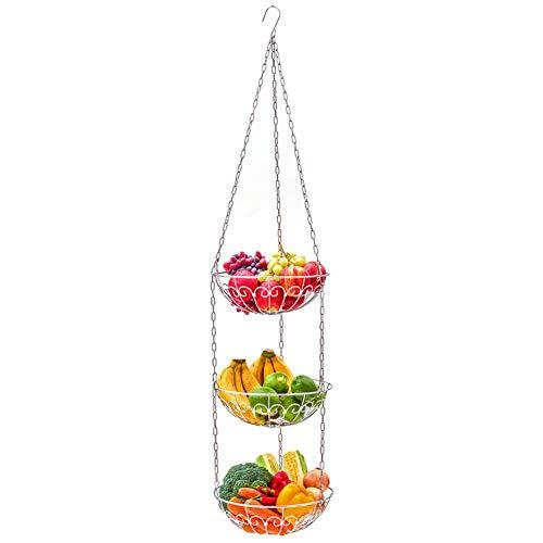 EZOWare Hängender Obstkorb mit etageren 3 Etagen, Küchen Obst Hängekorb aus Metall– Korb Aufbewahrung Organizer für die Obst, Gemüse und Pflanzen, Silber