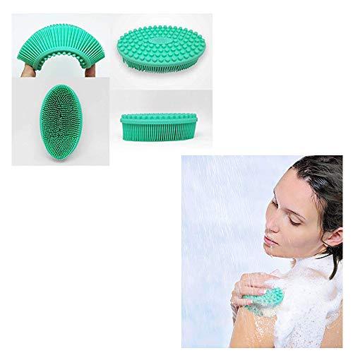 Bath & Shower Loofah Brush, Swyss 2 in 1 Face & Body Gentle Scrub Skin Exfoliation, Massage Nubs Improve Cellulite. Better Body Scrubber than Wash Cloth, Pouf or Mitt. 100% Silicone