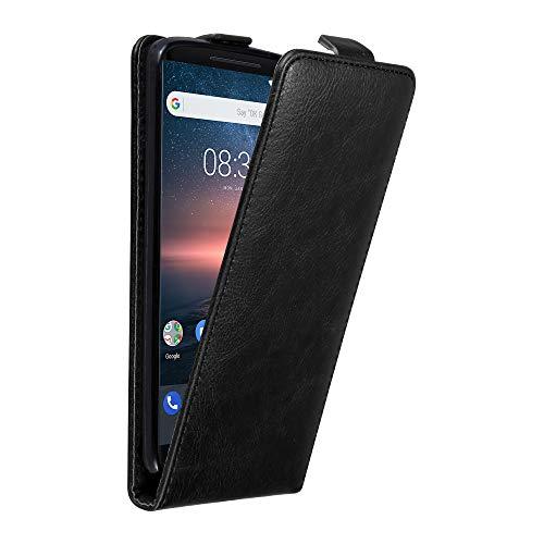 Cadorabo Hülle für Nokia 8 Sirocco in Nacht SCHWARZ - Handyhülle im Flip Design mit unsichtbarem Magnetverschluss - Hülle Cover Schutzhülle Etui Tasche Book Klapp Style