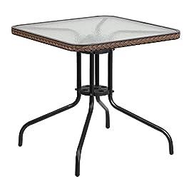 Flash Meuble carré de 71,1cm de côté en Verre trempé avec Bord Marron foncé en rotin de Table en métal