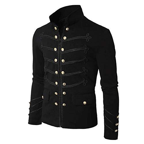 Aiserkly Herren Mantel Jacke Frack Steampunk Gothic Gehrock Uniform Cosplay Kostüm Smoking Mantel Retro Bestickter Knopf Mantel Schwarz L