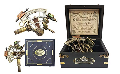 The New Antique Store - Sextant Sextant Navegacion Marine Sextant aus Messing in Geschenkbox aus Hartholz