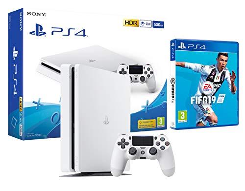 PS4 Slim 500Gb Blanca Playstation 4 Consola + FIFA 19