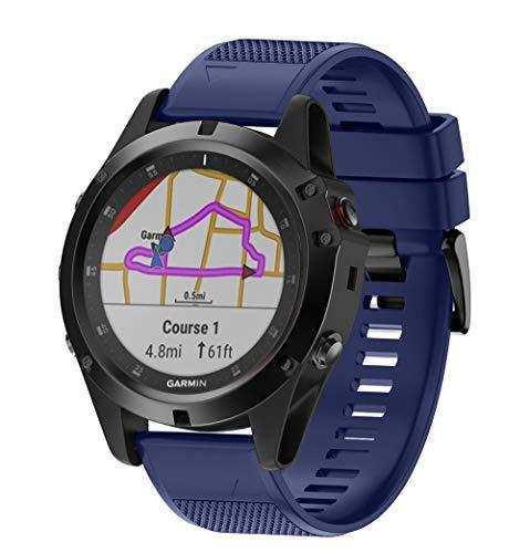 BarRan Fenix 6X,Fenix 6X Pro Solar,Fenix 5X,Fenix 5X Plus Band,26MM zachte siliconen Eenvoudig installeren Horlogeband voor Garmin Fenix 3/Fenix 3 HR/Fenix 5X/Fenix 5X Plus GPS(niet FIT Fenix 5 5S 6S) Smart Watch, Fenix 5X Plus, Middernacht Blauw