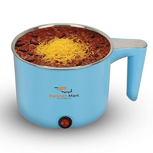 Fennec Mart Electric 1.5 L Multi Cooker Kettle with Concealed Base Multifunction Cooking Pot Noodle Maker Egg Boiler Vegetable and Rice Cooker and Steamer (Blue)