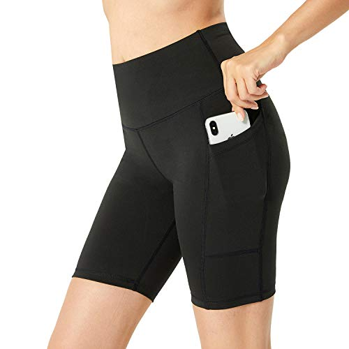 LANBAOSI - Pantalones Cortos de Yoga para Entrenamiento para Mujer con Bolsillos, Cintura Alta, Control de Abdomen, Pantalones Cortos Deportivos para Correr, Gimnasio