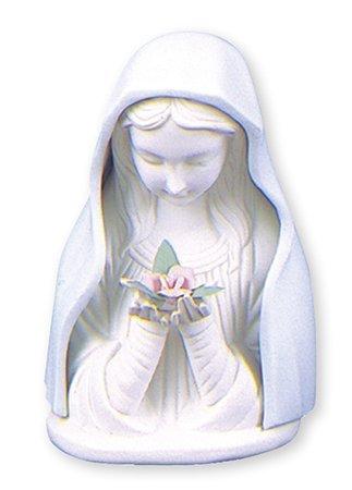 """Iluminado Virgen María Estatua cerámica de 41/2""""(11,5cm), color azul y blanco porcelana Madonna busto Estatua con luz"""