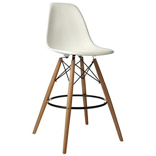 ST018 Taburete patas madera y asiento blanco estilo nórdico