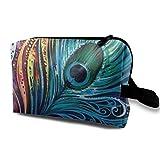 XCNGG Bolsas de aseo unisex Bolsa de cosméticos de moda Bolsas de maquillaje de viaje multifunción Pavo real increíble colorido