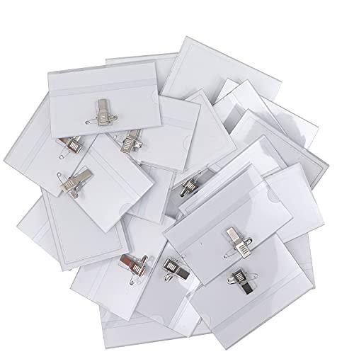 Belle Vous Namensschilder für Kleidung Clip (100er Pack) Dienstausweis Hülle 9 x 6 cm Transparente PVC Karten Halter Wasserabweisend für Schule, Unternehmen, Konferenzen, Business & Besucher