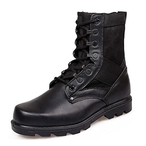LANTUI Hombre Botas Militares Botas de Combate del ejército para el Desierto, Botines de Seguridad Ligeros y Transpirables para Caminar, Zapatos de Escalada,Black-41
