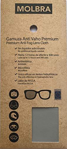 Molbra  Gamuza Premium Microfibra Anti-Vaho - 12 Horas de Efecto y 300 Usos - Sin Líquidos Adicionales - Libre de P.F.O.A. - Reach Compliance (UE) - Válida para Lentes hidrofóbicas.