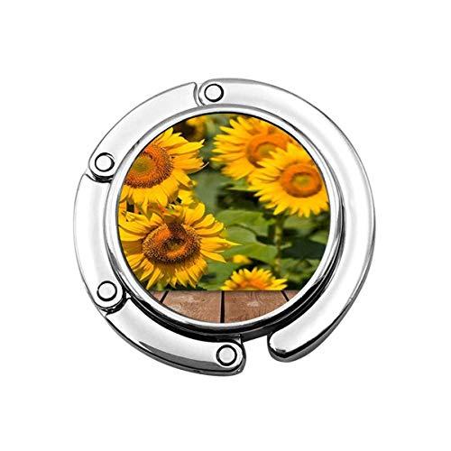 Niedliche Faltbare Geldbörse Kleiderbügel Haken für Tisch, Country Village ländlichen goldenen Sonnenblume und Holzplanke Handtasche Haken Tischtasche