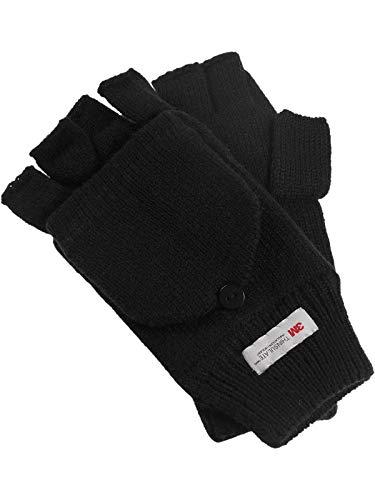 Harrys-Collection Halbfinger Handschuh mit Klappe warm gefüttert, Farben:schwarz, Größen:Einheitsgröße