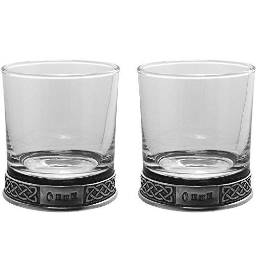English Pewter Company 11oz Double Tumbler Celtic Set Old Fashioned Whiskey Glass [CEL985]