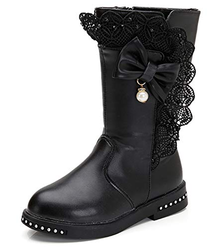 DREAM PAIRS Little Kid Atlanta-K Black Girl's Knee High Ridding Boots Size 1 M US Little Kid