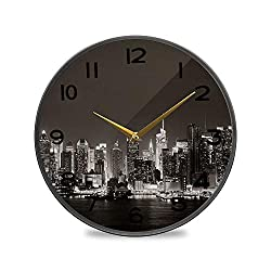 ALUONI Round Wall Clock, Midtown Skyline Over River in New York City with Skyscrapers at Night Vintage Wall Clocks Battery Operated Kitchen/Home/School Patio Decor 9.5 No70675