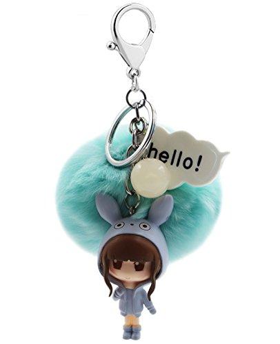 Cute Cartoon Girl Model Key Chain Soft Big Fluffy Ball Key Ring Mini Bag Decoration for Girls and Women(Light Blue)